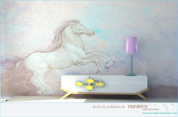 Papel pintado con caballo, de Inteiorismo Trinidad.jpg