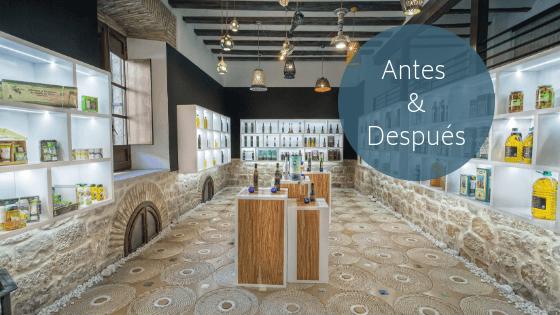 Decoración de interiores tienda de aceite de oliva